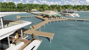 solar powered resort showing view from boat to land facilities
