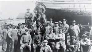 1938 photo of crew who built the tall ship with electric motor