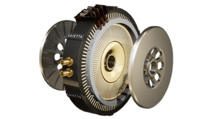 Saietta electric motor shown in exploded view