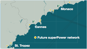 electric boat chargers network shown on a map of Cote d'Azur
