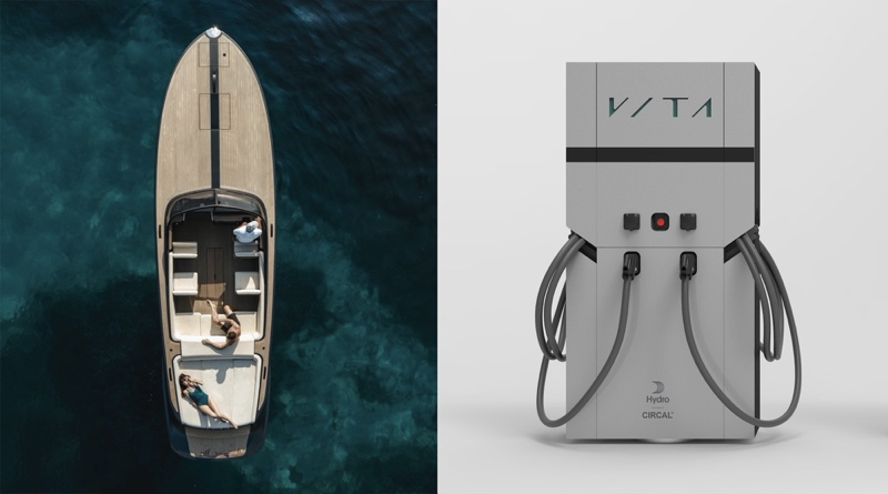 electric boat chargers side by side with photo of electric boat