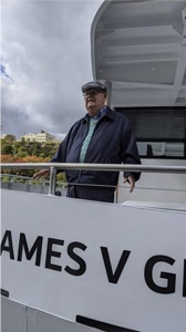Niagara Falls electric ferries veteran James V. Glynn on the ferry named after him