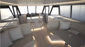 solar electric catamaran view from interior to helm