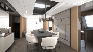 Dining and dining area of solar - hydrogen yacht with bamboo, cork and recycled leather