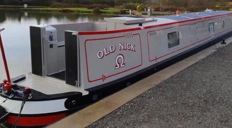 Vetus electric motors will go in this narrowboat 'Nick' shown docked on a canal bank