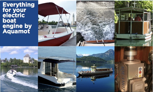 Aquamot electric boat motors collage of images