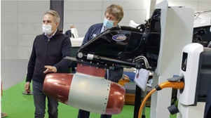 Deepspeed founder shows off Deepspeed electric hydrojet at Genoa Boat Show