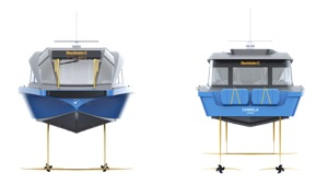 fastest electric ferry diagram from bow and stern showing hydrofoils