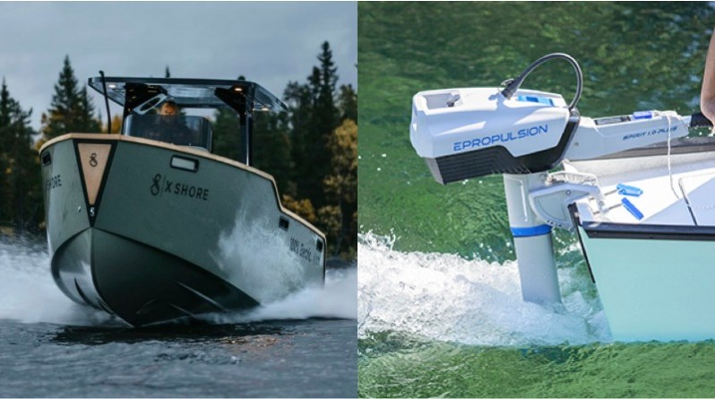 electric boats investments made in X Shore boats (boat shown on left) and ePropulsion motors (motor shown on right)