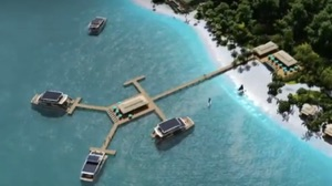 overhead view of SIlent Yachts catamarans linked to buildings on land