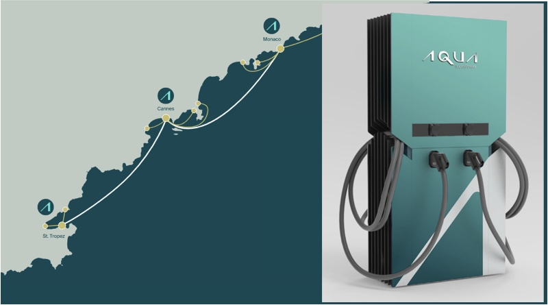 electric boat supercharger and map of Mediterranean Cote d'Azur