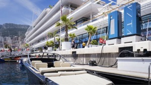 electric boat supercharger on the dock of the Yacht Club de Monaco