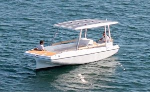electric boat with solar panel roof