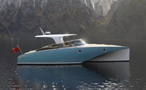 electric boat with trimaran hull