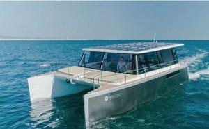 solar electric powered catamaran in electric boat awards