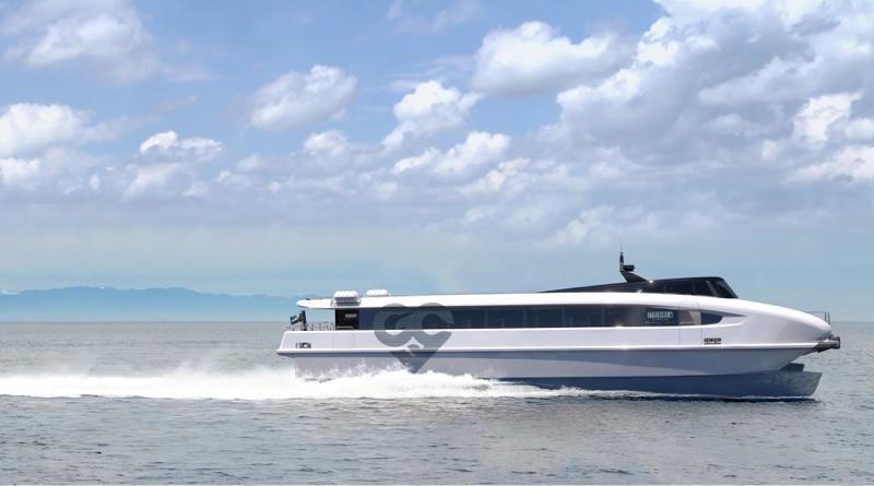 electric hydrofoil catamaran ferry speeding along the water (artist's impression)