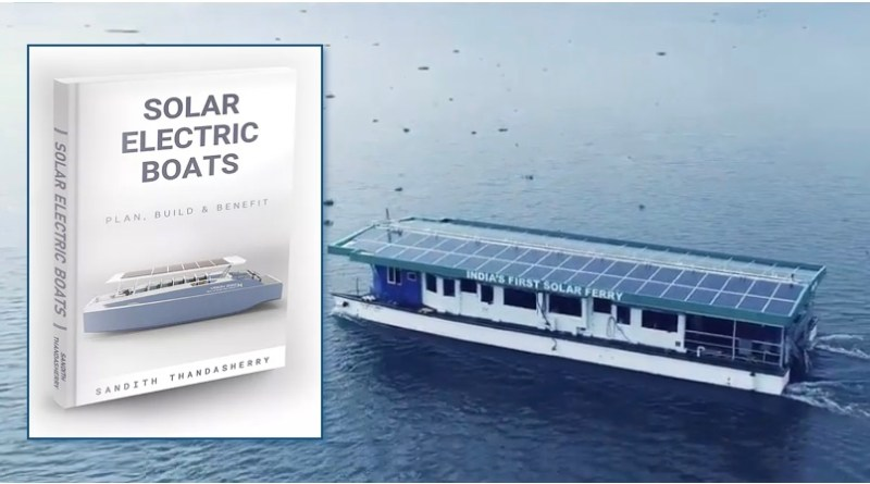 Book Cover: Solar Electric Boats - with photo of Aditya solar ferry in background