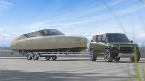 Dutch hydrofoiling eboat being pulled by car to aunch ramp