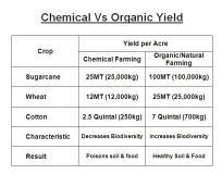 Chemical vs Organic or Natural Farming Yield