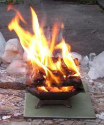 cowdung cake burning
