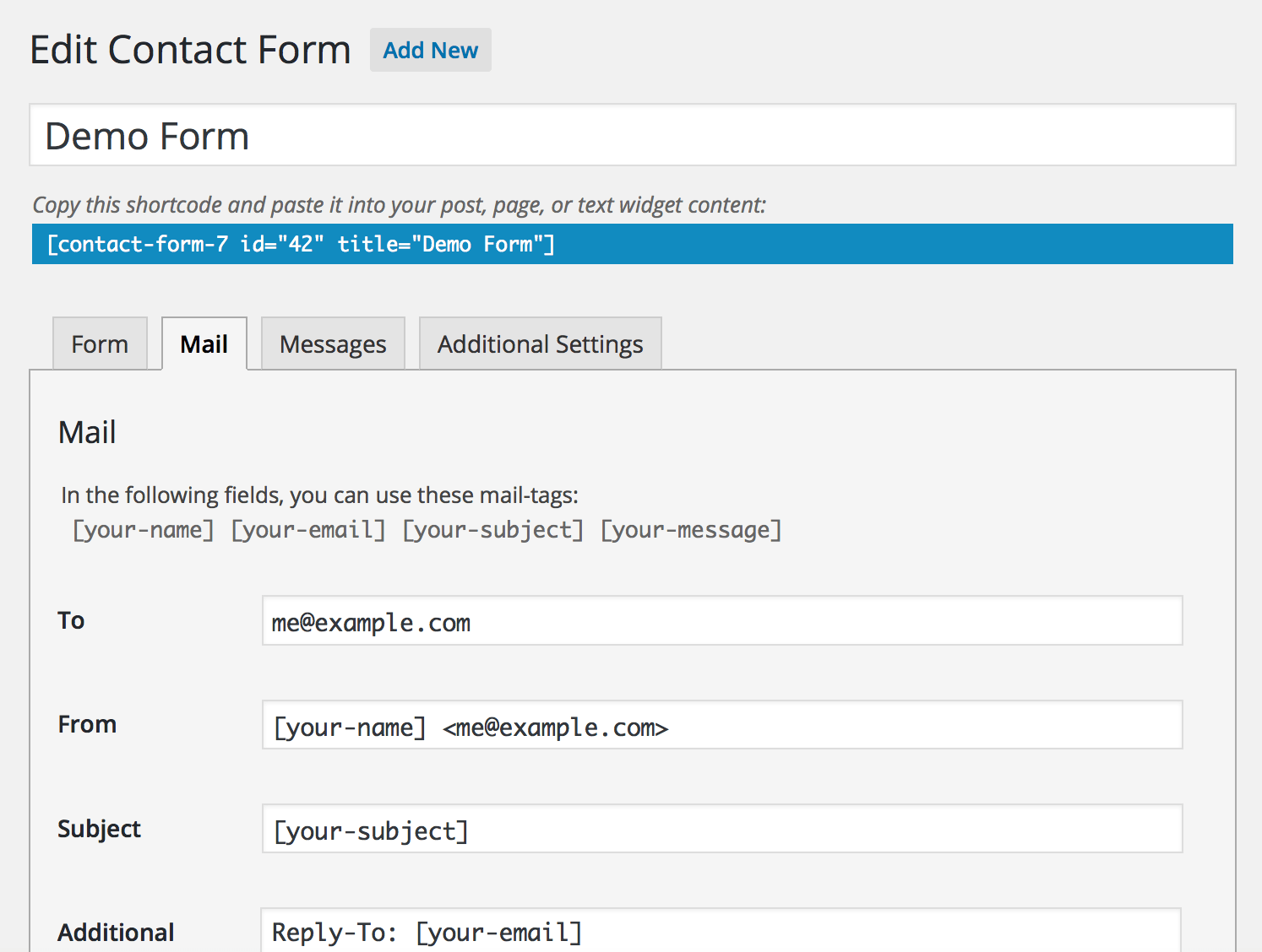 Setting Up Mail | Contact Form 7