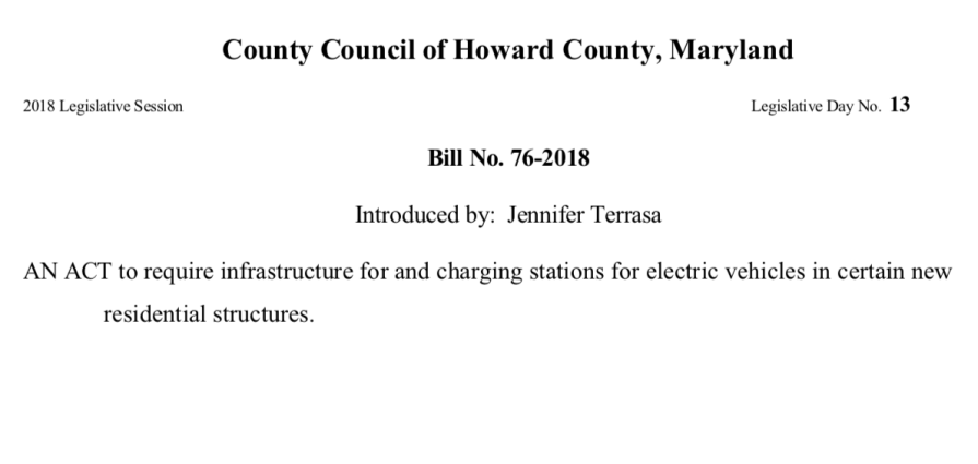 howard county proposal to require ev charging at new residential