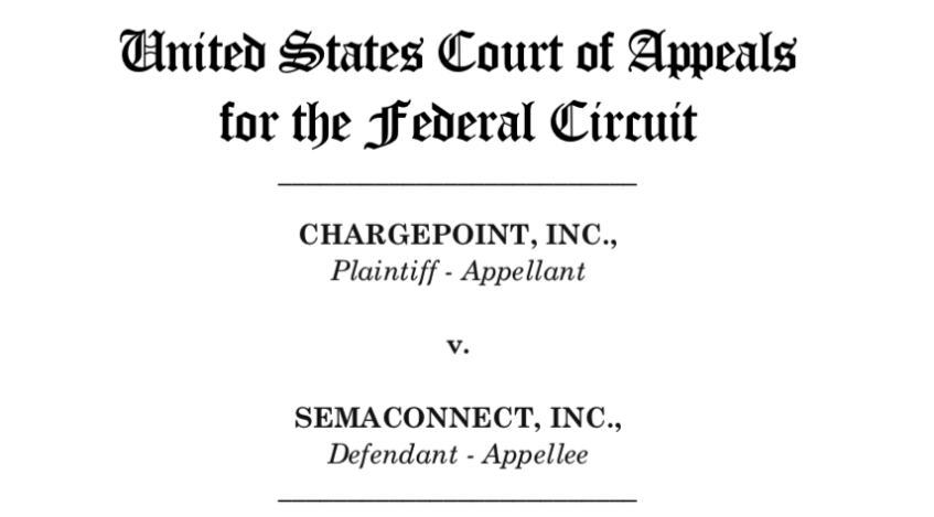 ChargePoint v SemaConnect Appeal