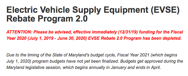 Maryland MEA EVSE Rebate