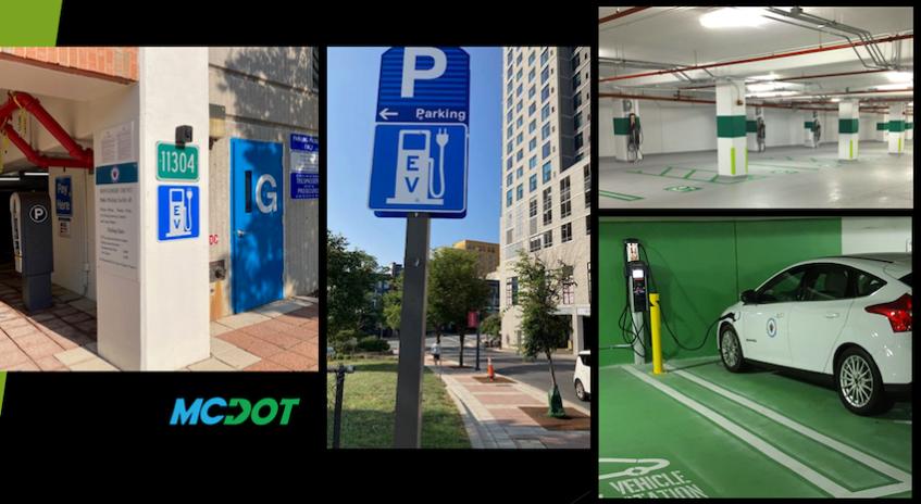 MCDOT EV charging wayfinding signs