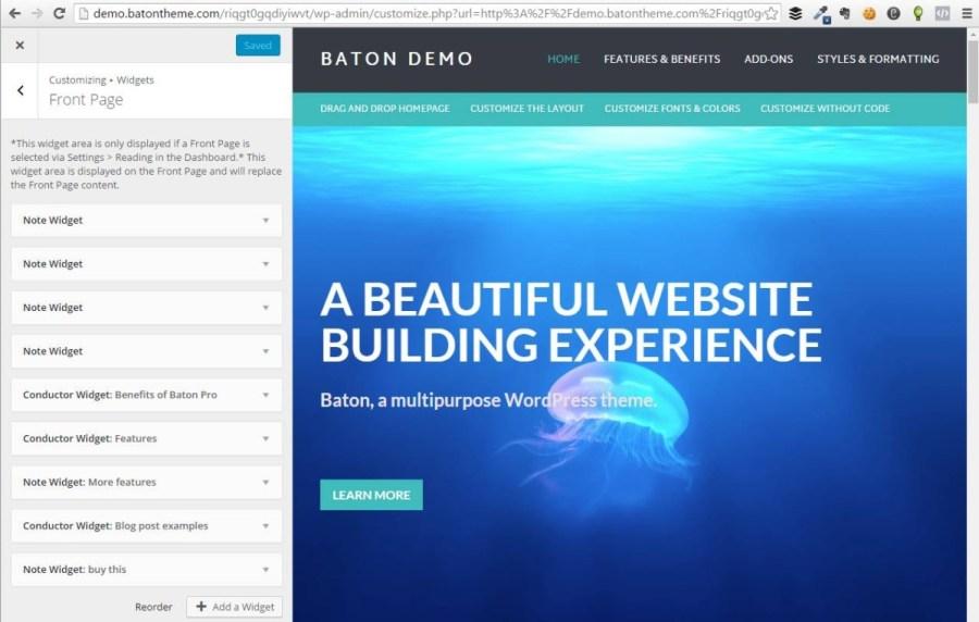 Customizer view of http://batontheme.com