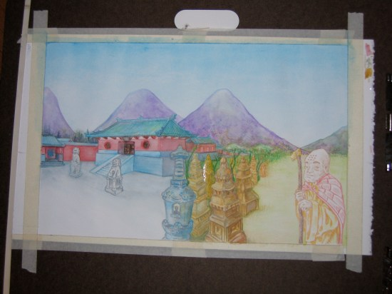 Shaolin Temple: water color wash
