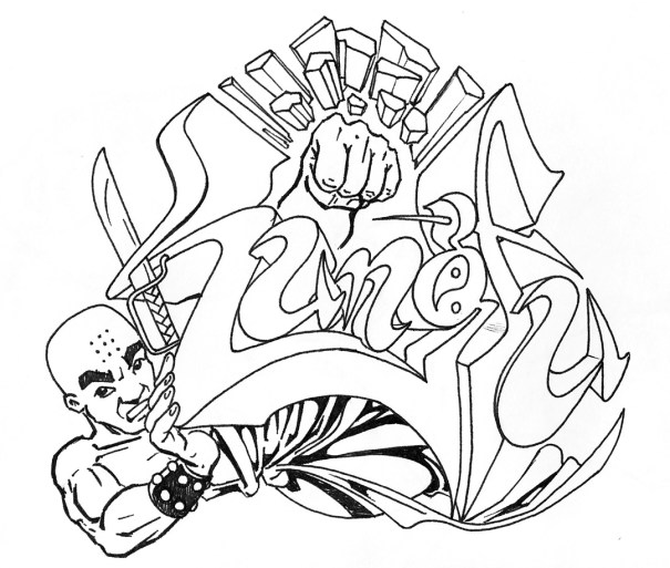 Line art for a word of psuedo-grafitti that would be painted on canvas and used as an advertising campaign backdrop.