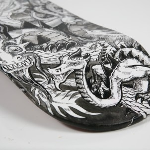 Detail of custom skateboard deck
