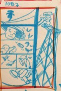 Revised thumbnail sketch featuring action atop power lines.