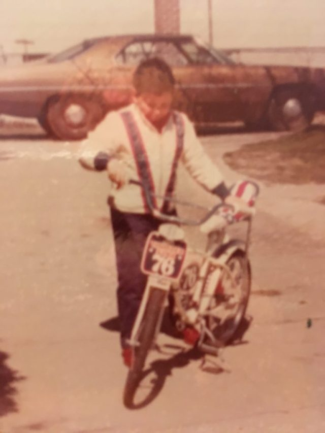 Archival photo of the young author and his star-spangled bicycle; circa 1976.