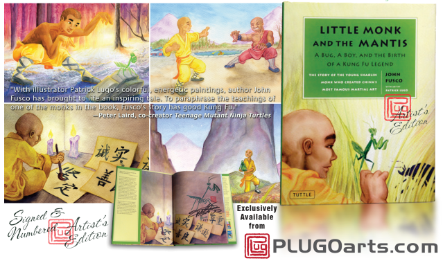 Images of the Awrad winning Picture Book: Little Monk and the Mantis
