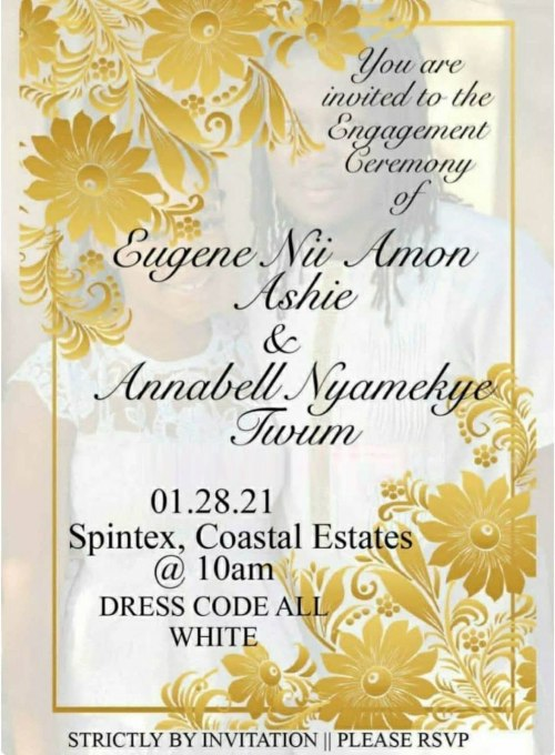 Wisa Greid grilfriend annabell twum wedding invitation