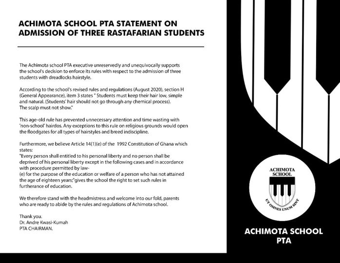 Achimota School Statement on Rastafarian Dreadlocks Students