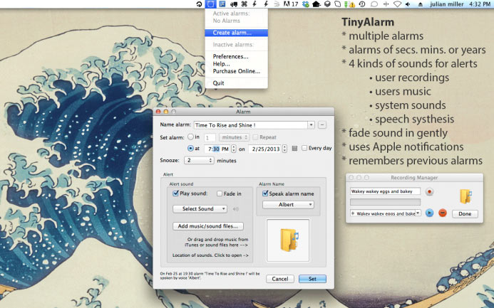 TinyAlarm for Mac 1.9 破解版 - 优秀的闹钟定时器
