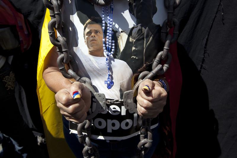 Cadenas, protestas y Leopoldo López