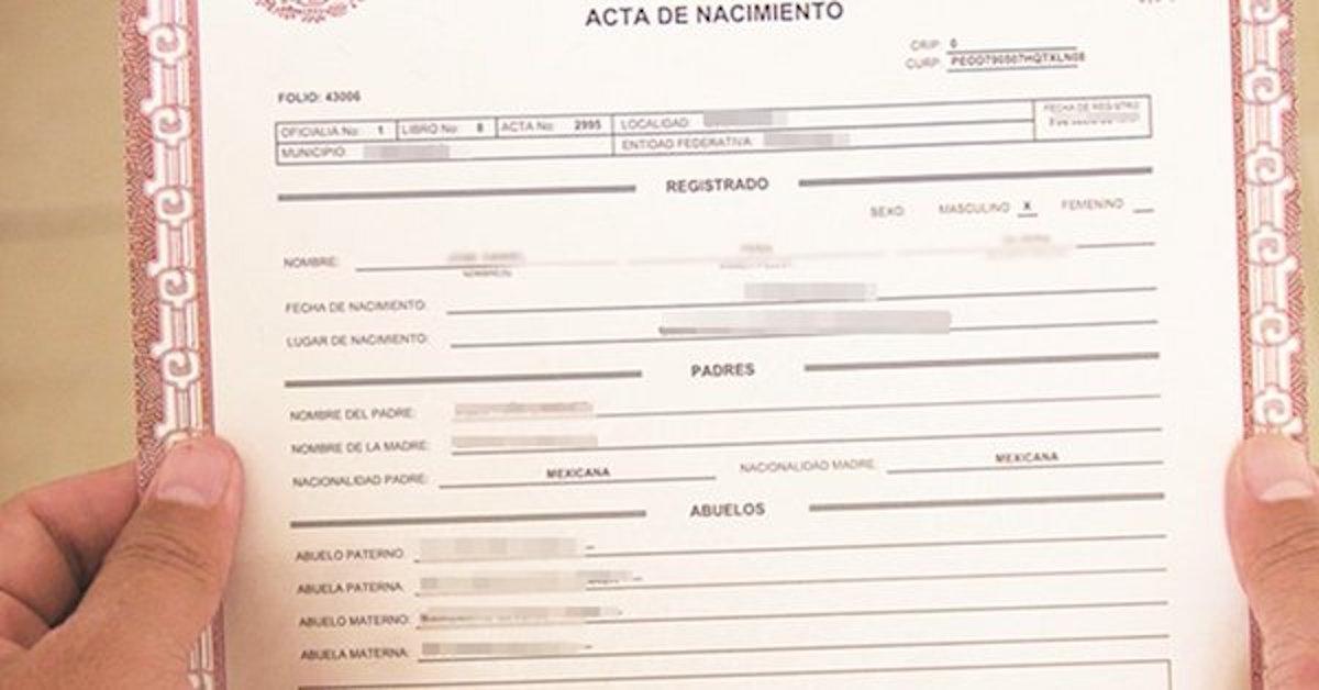 actas de nacimiento, registro civil, apellido paterno, apellidos, apellido materno, nombres
