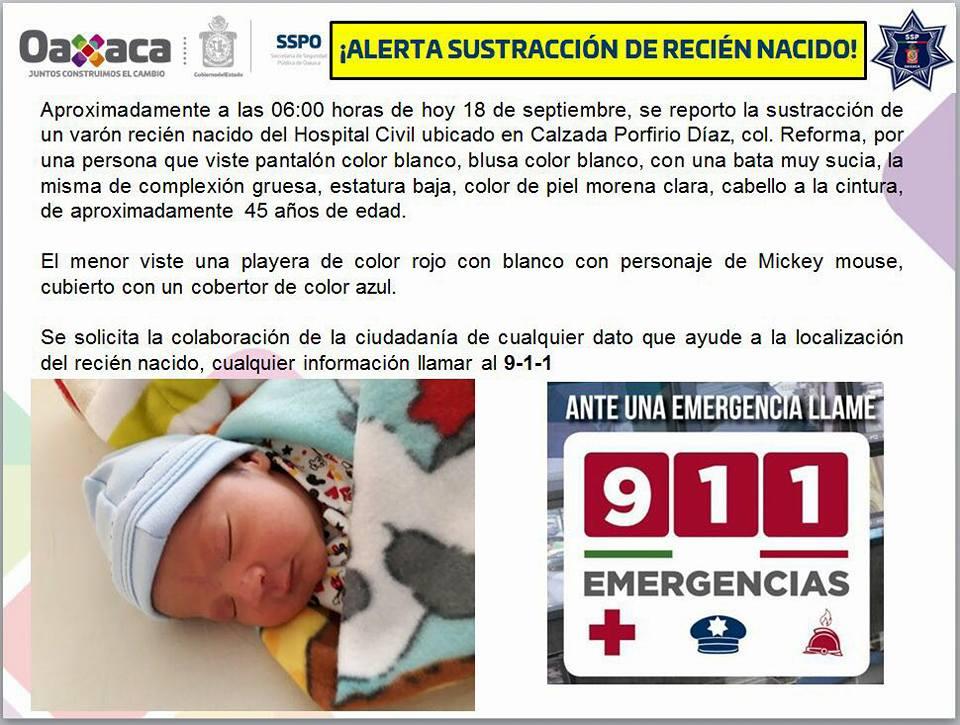 Alerta sustracción recién nacido