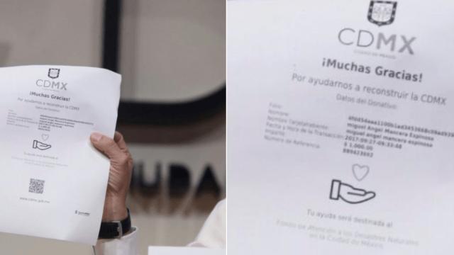 Mancera dona mil pesos reconstrucción CDMX tacaño