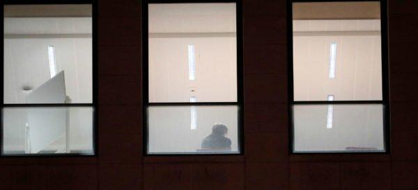 Puigdemont rindiendo declaración en el juzgado de Bruselas