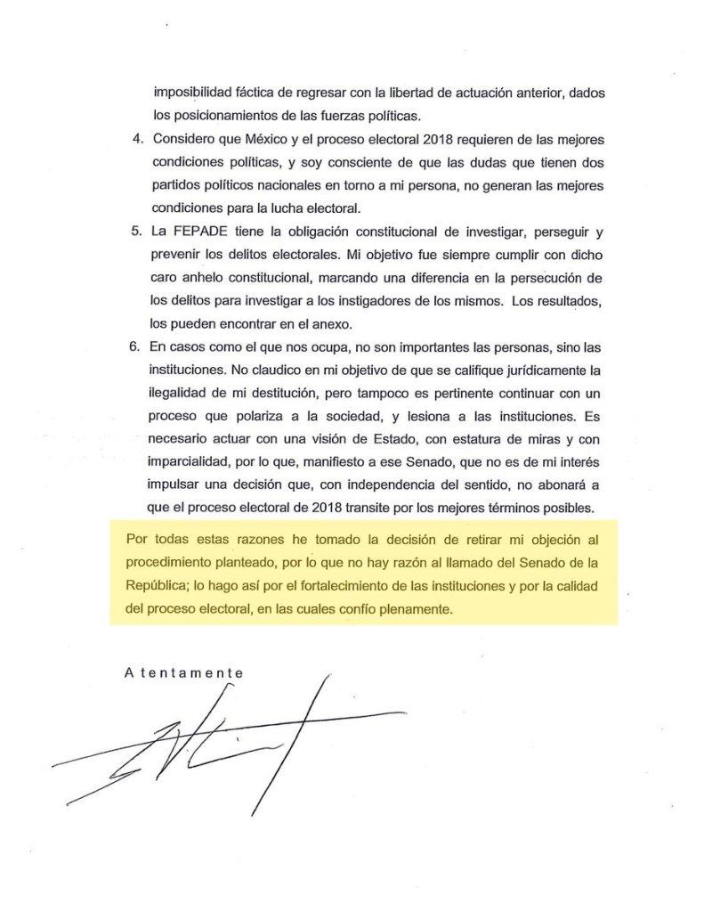Carta de Nieto al Senado para no ser restituido 2 de 2