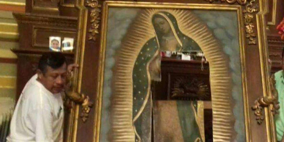 #LadyVirgen destruye cuadro de la Virgen en Tampico