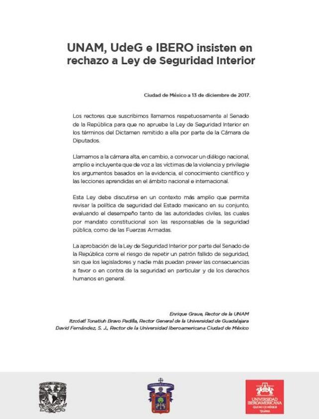 comunicado rectores contra ley seguridad interior