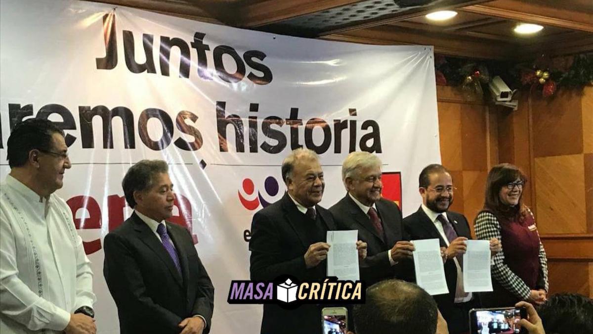 Morena firma alianza con PEZ y PT