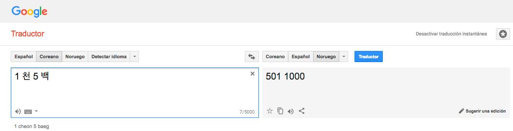 Traducción del coreano al noruego de 1 mil 500