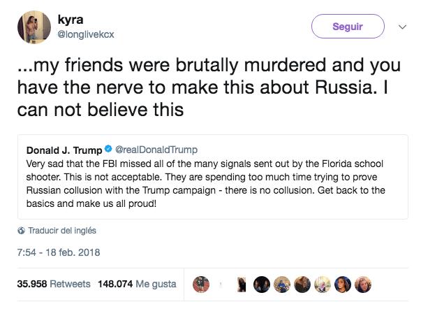 Víctimas del tiroteo del 14 de febrero increpan al presidente en Twitter